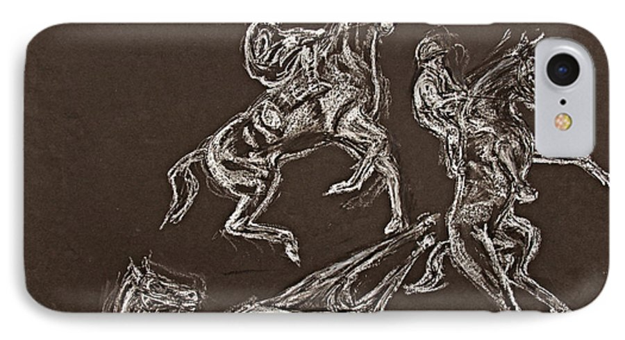 Rearing Horse IPhone 7 Case featuring the drawing Ghost Riders In The Sky by Tom Conway