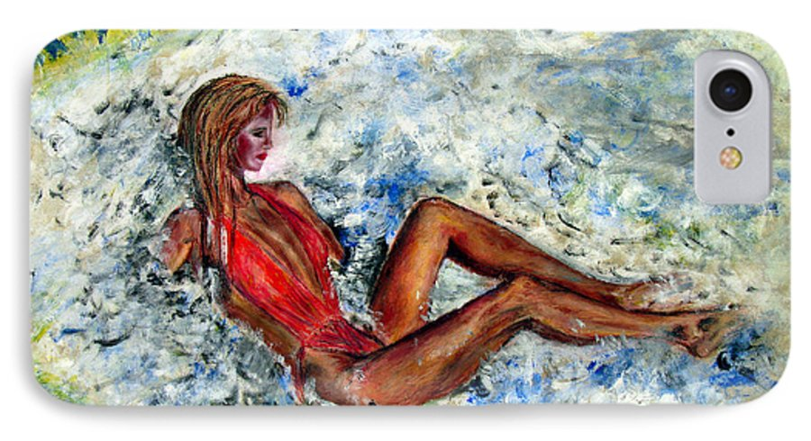 Girl IPhone 7 Case featuring the painting Girl In A Red Swimsuit by Tom Conway