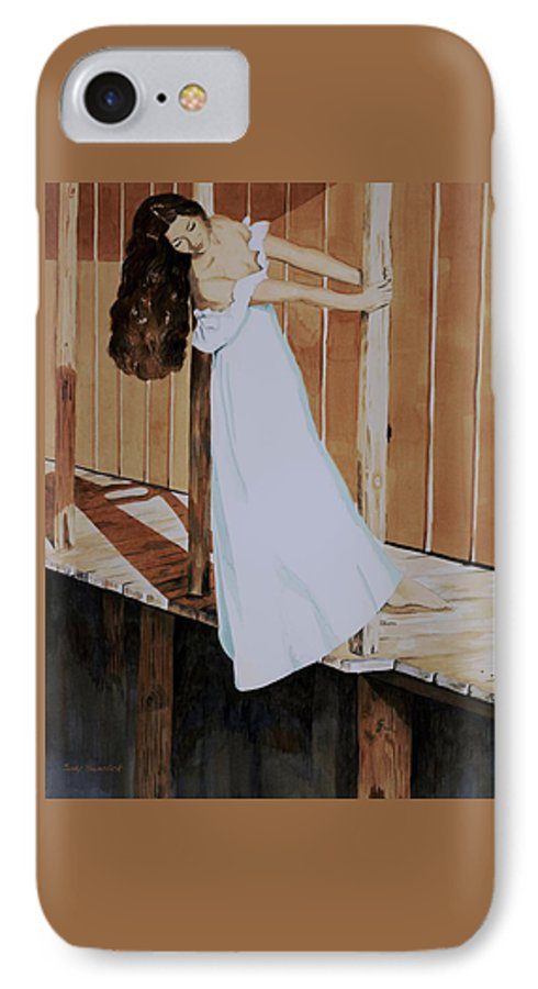 Girl On Dock IPhone 7 Case featuring the painting Girl On Dock by Judy Swerlick