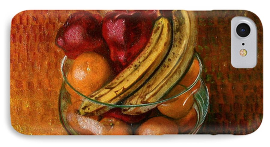 Still Life IPhone 7 Case featuring the painting Glass Bowl Of Fruit by Sean Connolly