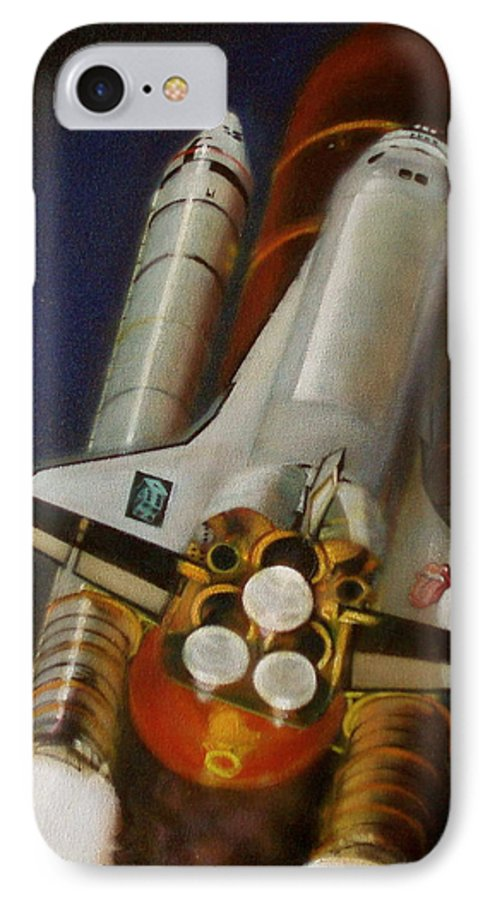 Space Shuttle;launch;liftoff;blastoff;rockets;engines;astronauts;spaceart;nasa;photorealism IPhone 7 Case featuring the painting God Plays Dice by Sean Connolly