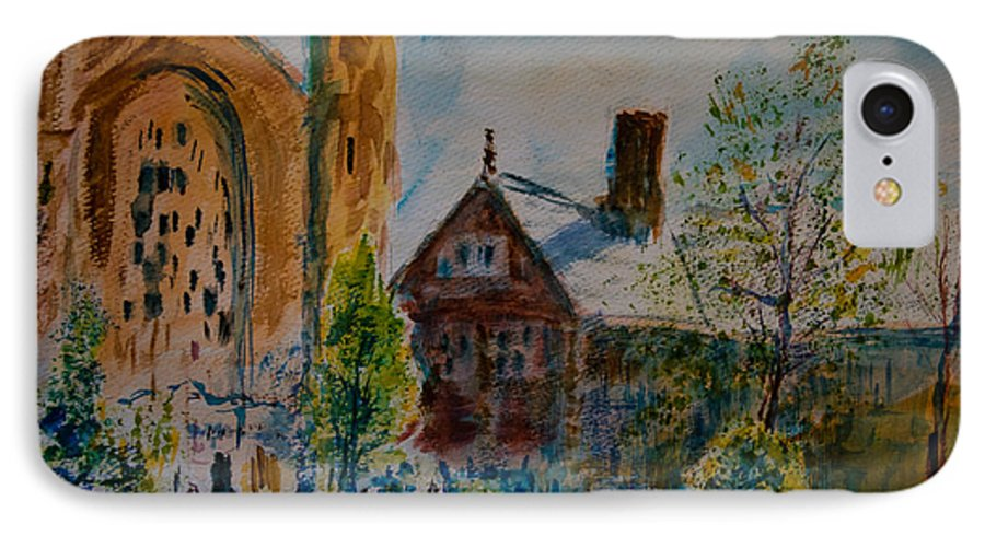 Watercolor IPhone 7 Case featuring the painting Graham Chapel Morning Effect by Horacio Prada