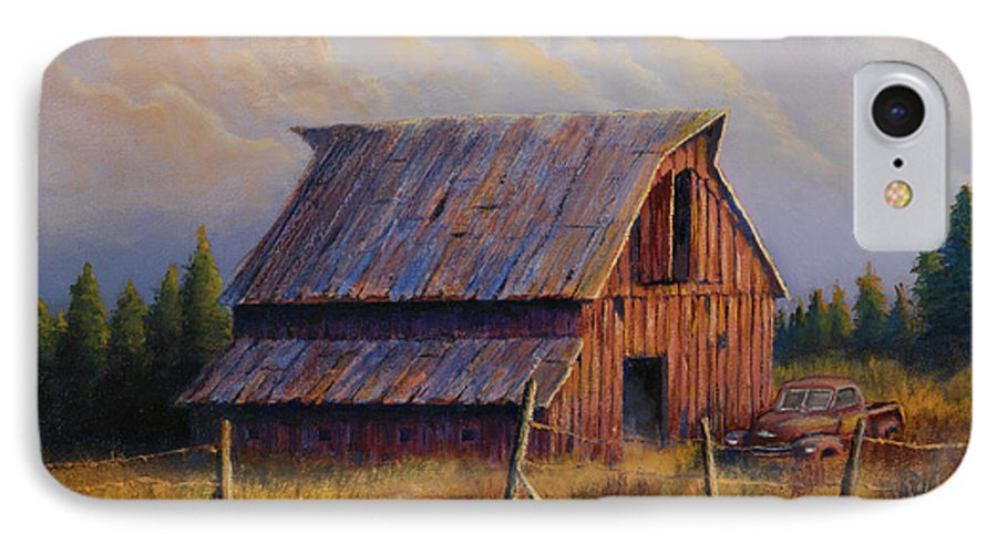 Barn IPhone 7 Case featuring the painting Grandpas Truck by Jerry McElroy