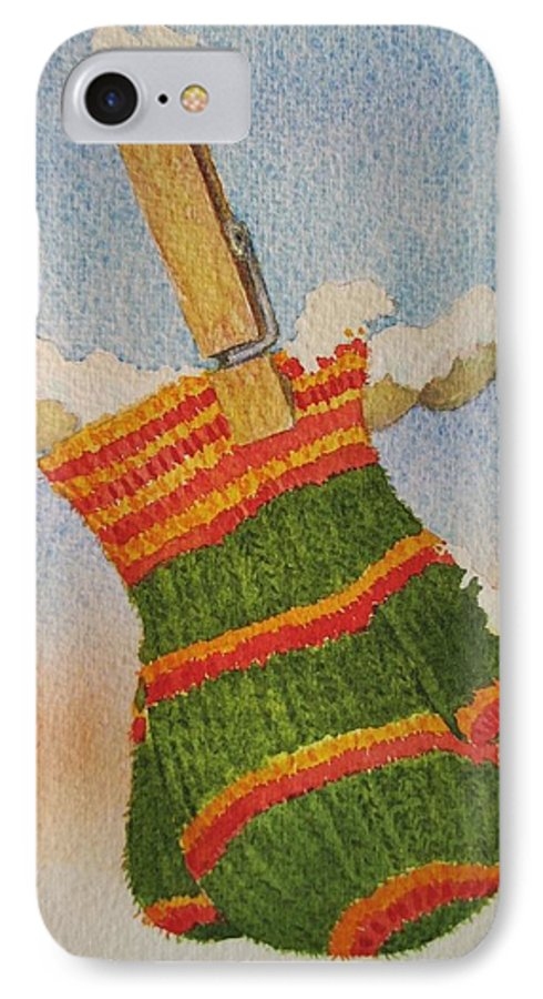 Children IPhone 7 Case featuring the painting Green Mittens by Mary Ellen Mueller Legault