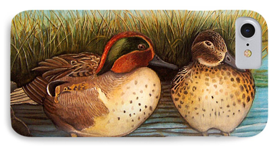 Rick Huotari IPhone 7 Case featuring the painting Green Winged Teal by Rick Huotari