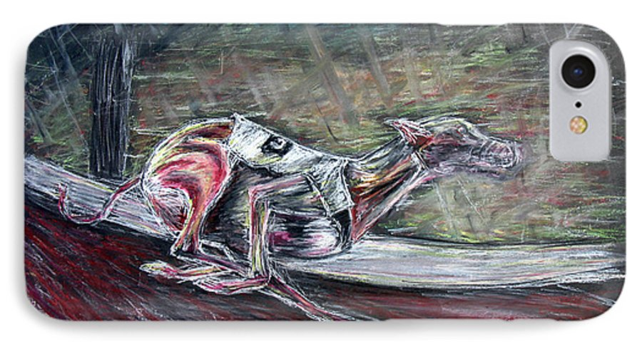 Dog IPhone 7 Case featuring the drawing Greyhound Number Three by Tom Conway