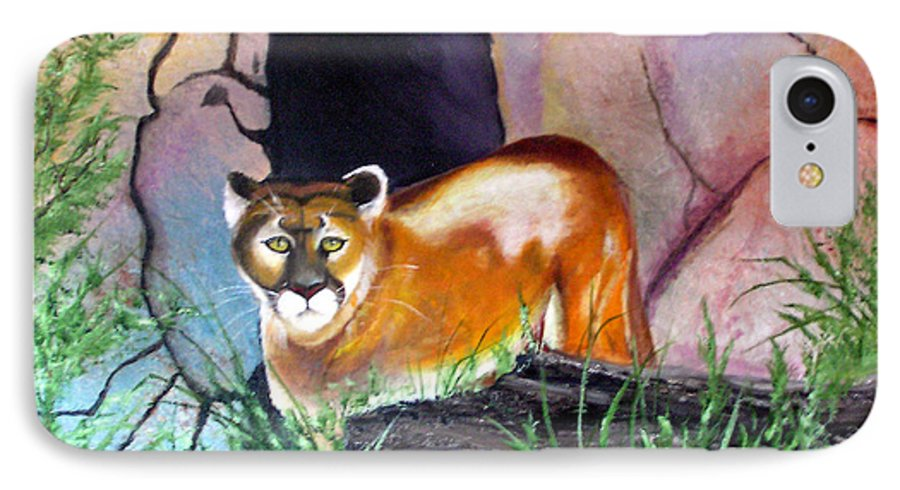 Big Cats IPhone 7 Case featuring the painting Guarding The Cave by Lora Duguay