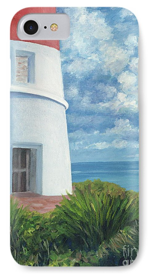 Seascape IPhone 7 Case featuring the painting Gun Cay Lighthouse by Danielle Perry