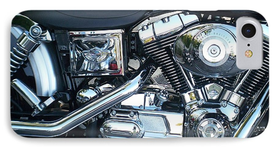 Motorcycles IPhone 7 Case featuring the photograph Harley Black And Silver Sideview by Anita Burgermeister
