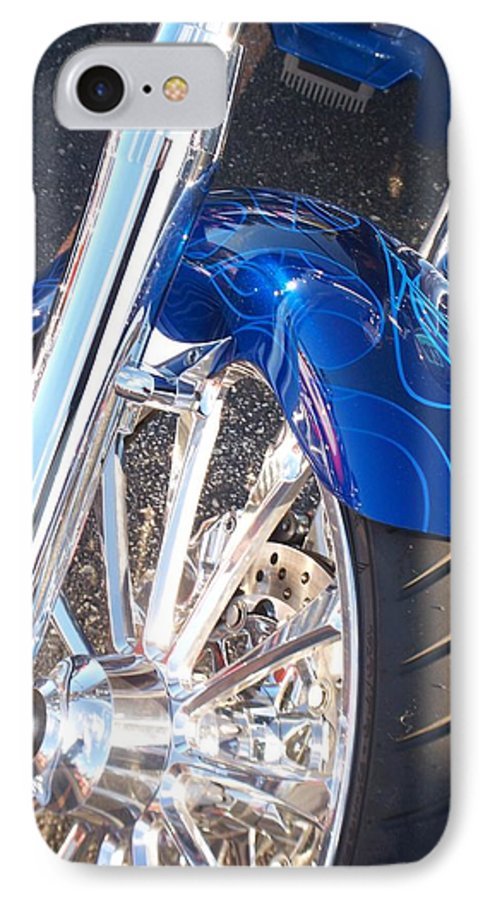 Motorcycles IPhone 7 Case featuring the photograph Harley Close-up Blue Flame by Anita Burgermeister