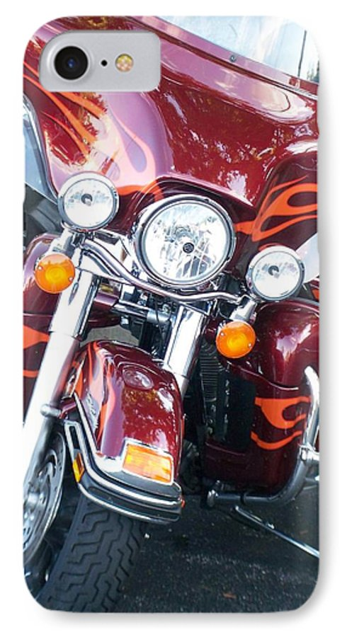 Motorcycles IPhone 7 Case featuring the photograph Harley Red W Orange Flames by Anita Burgermeister