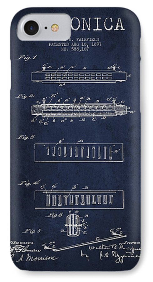 Harmonica IPhone 7 Case featuring the digital art Harmonica Patent Drawing From 1897 - Navy Blue by Aged Pixel