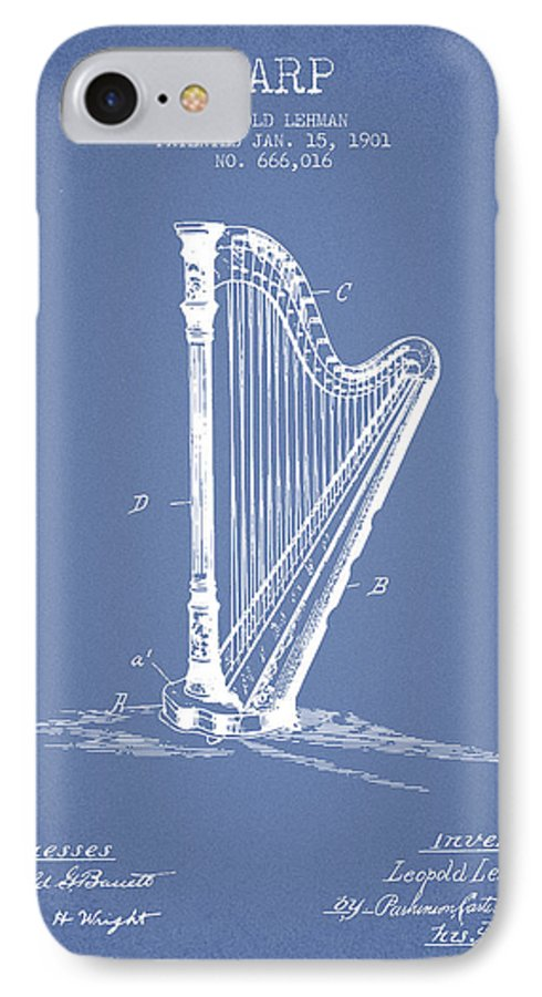 Harp IPhone 7 Case featuring the digital art Harp Music Instrument Patent From 1901 - Light Blue by Aged Pixel