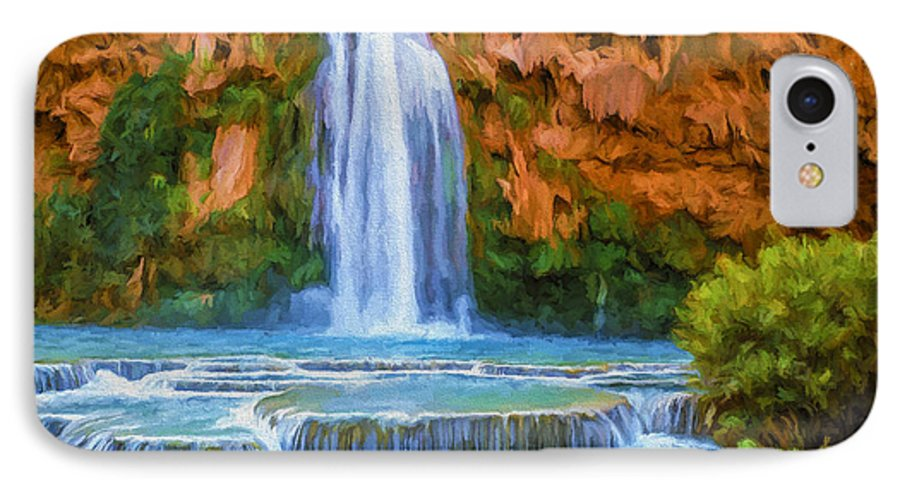 Fine Art IPhone 7 Case featuring the painting Havasu Falls by David Wagner