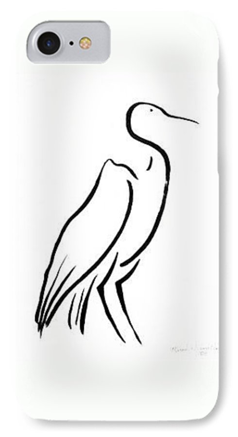Calligraphy IPhone 7 Case featuring the drawing Heron by Micah Guenther