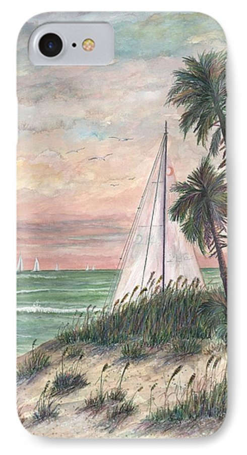 Sailboats; Palm Trees; Ocean; Beach; Sunset IPhone 7 Case featuring the painting Hideaway by Ben Kiger