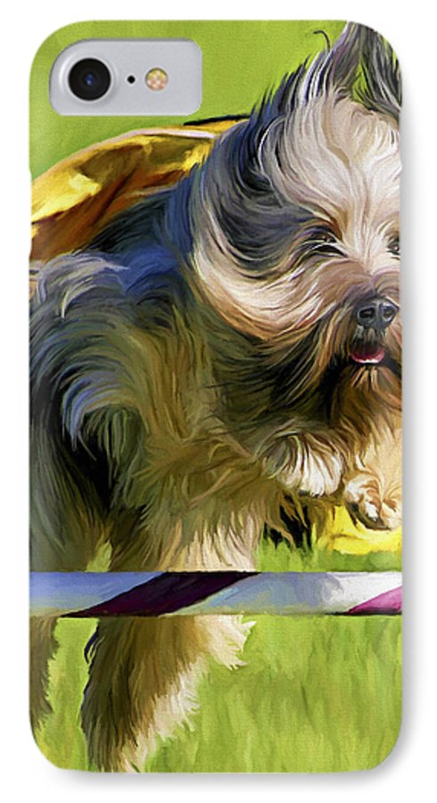 Silky Terrier IPhone 7 Case featuring the painting High Flier by David Wagner