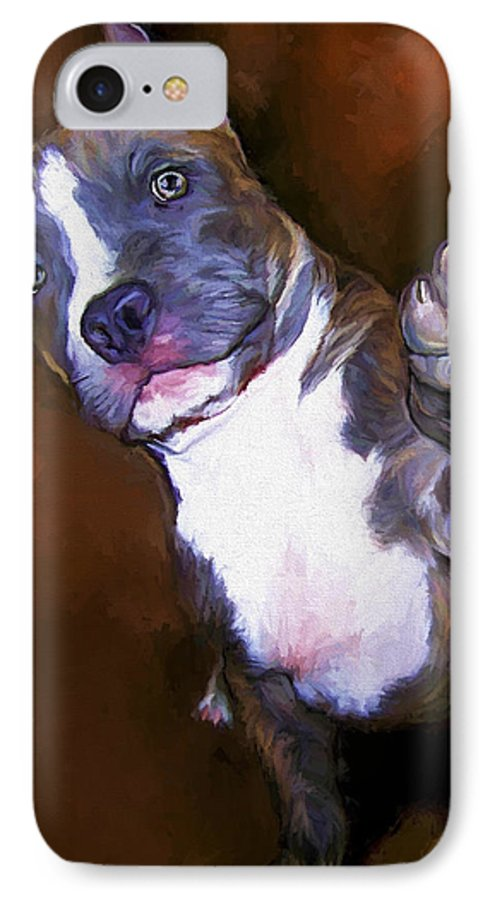 Pit Bull IPhone 7 Case featuring the painting High Four by David Wagner
