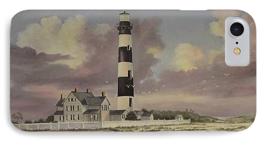 Lighthouse IPhone 7 Case featuring the painting History Of Morris Lighthouse by Wanda Dansereau