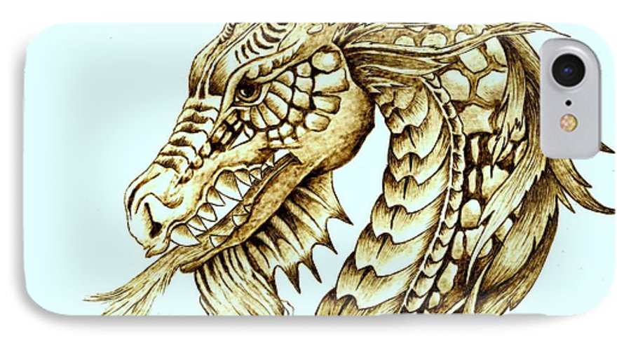 Dragon IPhone 7 Case featuring the pyrography Horned Dragon by Danette Smith
