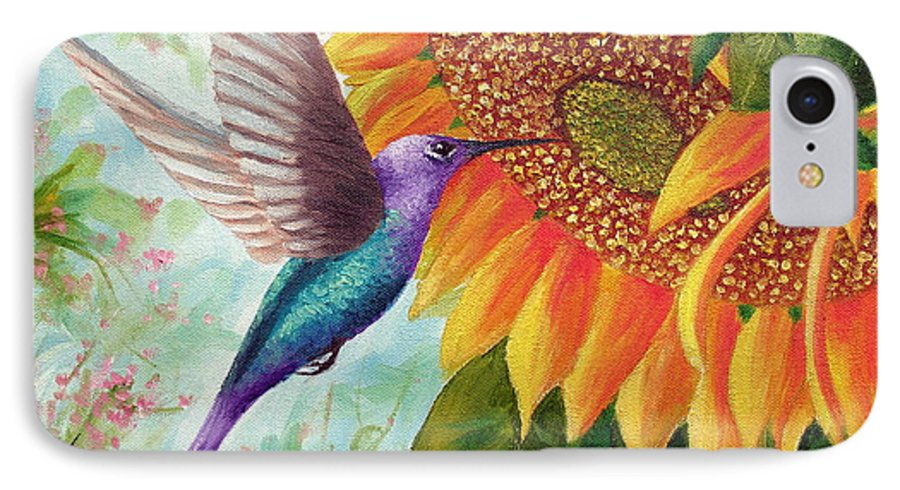 Hummingbird IPhone 7 Case featuring the painting Humming For Nectar by David G Paul