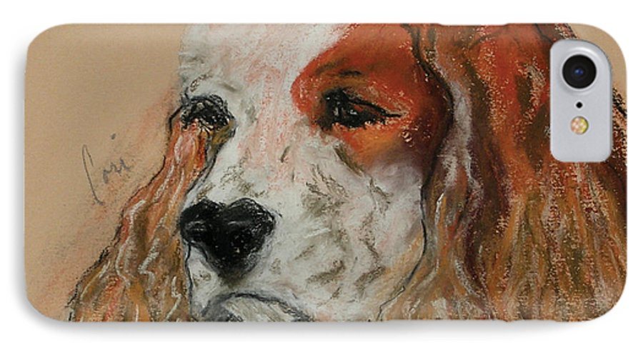 Dog IPhone 7 Case featuring the pastel Idle Thoughts by Cori Solomon