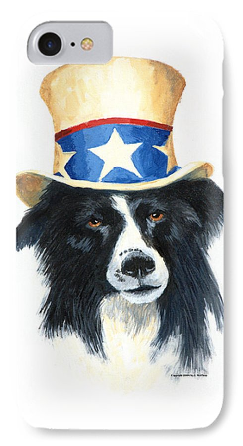 Dog IPhone 7 Case featuring the painting In Dog We Trust by Jerry McElroy