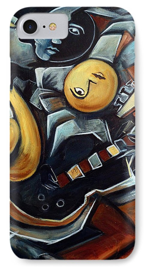 Cubism IPhone 7 Case featuring the painting Indigo Blues by Valerie Vescovi