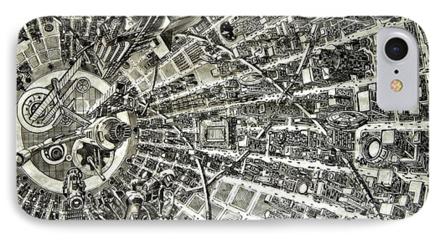 Cityscape IPhone 7 Case featuring the drawing Inside Orbital City by Murphy Elliott