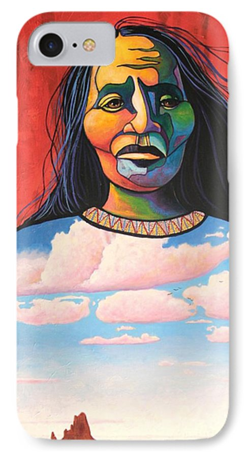 Native American IPhone 7 Case featuring the painting Into Her Spirit by Joe Triano