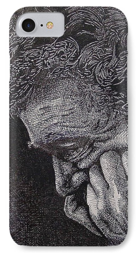Portraiture IPhone 7 Case featuring the drawing Introspection by Denis Gloudeman