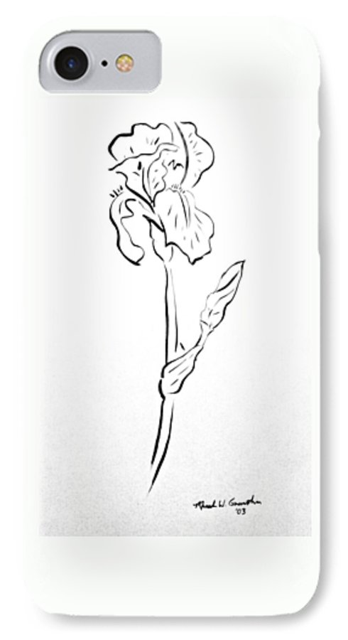 Abstract IPhone 7 Case featuring the drawing Iris II by Micah Guenther