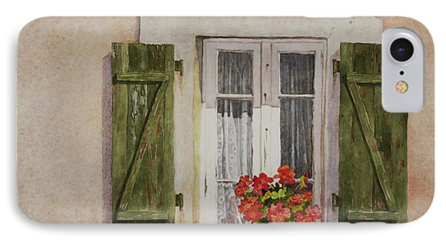 Watercolor IPhone 7 Case featuring the painting Irvillac Window by Mary Ellen Mueller Legault