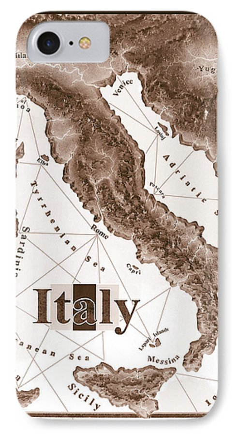 Italian IPhone 7 Case featuring the mixed media Italian Map by Curtiss Shaffer