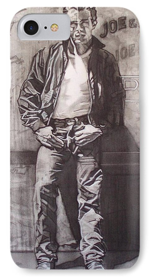 Charcoal; Icon;americana;cool;window;sidewalk;street;rock And Roll;jeans;t-shirt;diner;movie Star IPhone 7 Case featuring the drawing James Dean by Sean Connolly
