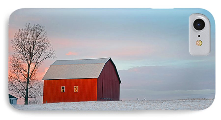 Landscape IPhone 7 Case featuring the photograph January Barn by Mark Orr