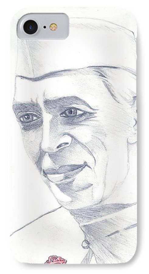 Jawaharl Lal Nehru Photos IPhone 7 Case featuring the painting Jawaharlal Nehru by Tanmay Singh