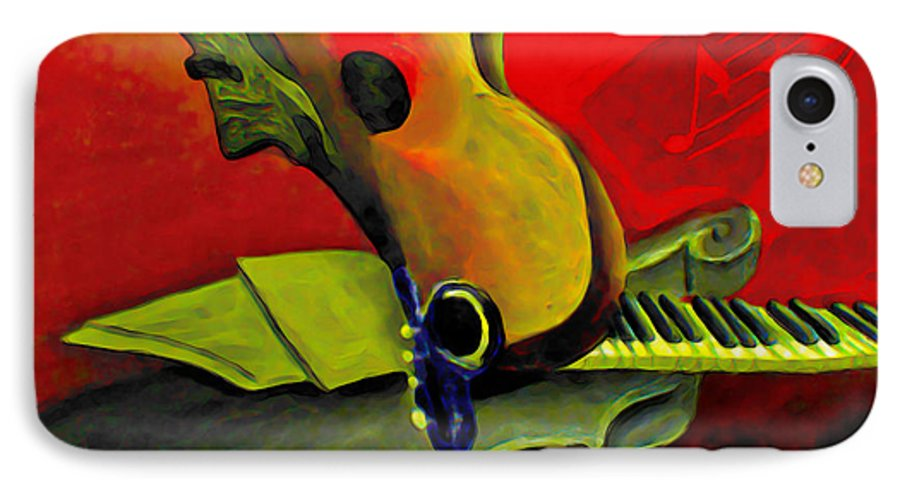 Abstract IPhone 7 Case featuring the painting Jazz Infusion by Fli Art