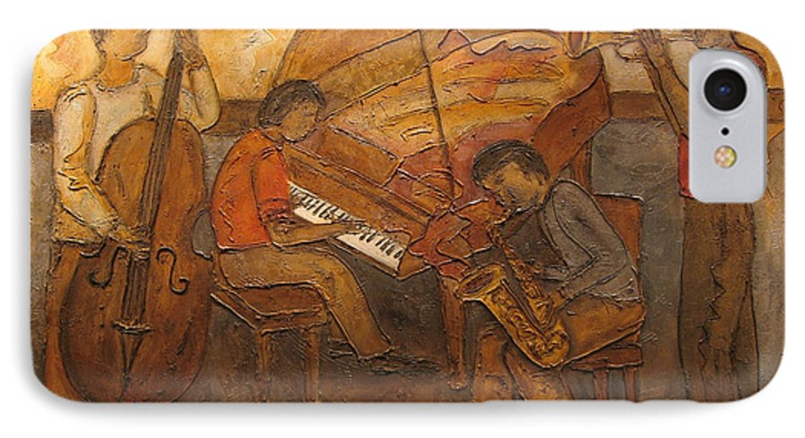 Impressionist IPhone 7 Case featuring the painting Jazz Quartet by Anita Burgermeister