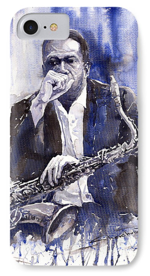 Jazz IPhone 7 Case featuring the painting Jazz Saxophonist John Coltrane Blue by Yuriy Shevchuk