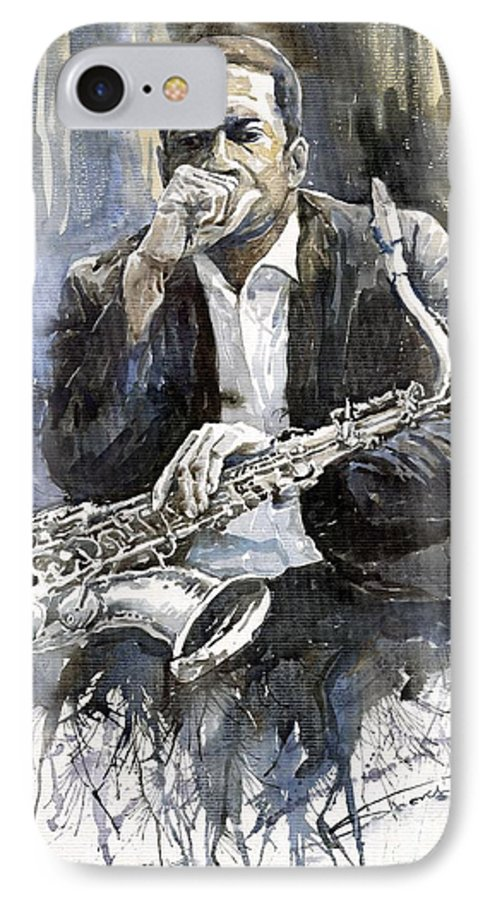 Jazz IPhone 7 Case featuring the painting Jazz Saxophonist John Coltrane Yellow by Yuriy Shevchuk