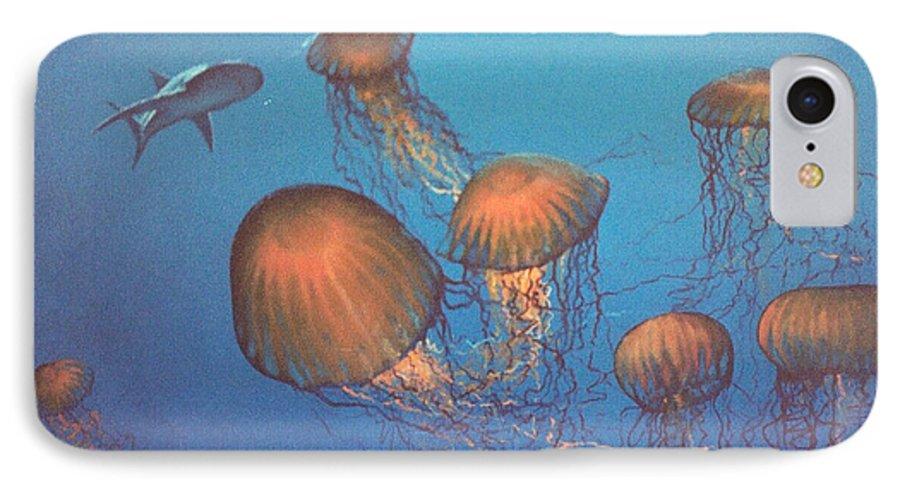 Underwater IPhone 7 Case featuring the painting Jellyfish And Mr. Bones by Philip Fleischer