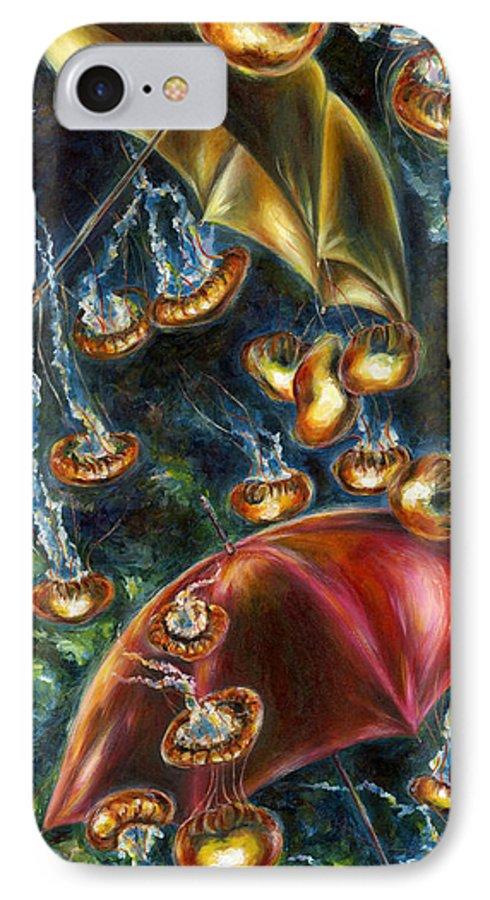 Jellyfish IPhone 7 Case featuring the painting Jellyfishy Evening by Hiroko Sakai