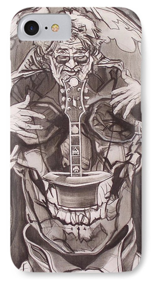 Charcoal; Skull;guitar;music;magic;mystic;wizard;cape;hat;shades;grateful Dead;deadheads IPhone 7 Case featuring the drawing Jerry Garcia . . Magic Is What We Do - Music Is How We Do It by Sean Connolly