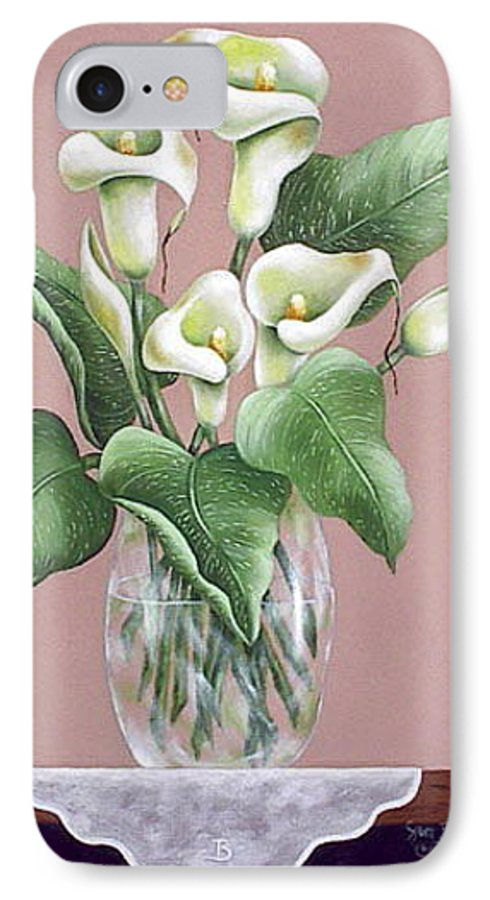 Oil IPhone 7 Case featuring the painting Josies Lilies by Ruth Bares