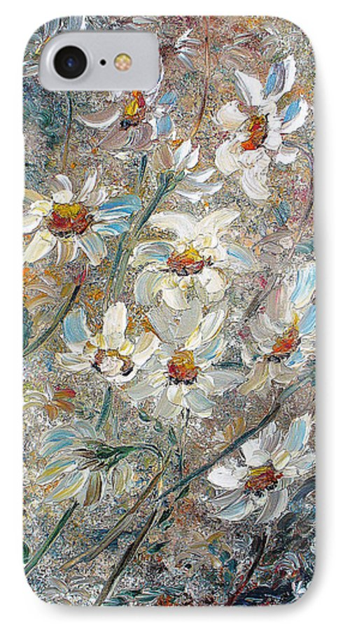 Daisies Painting Abstract Flower Painting Botanical Painting Bloom Greeting Card Painting IPhone 7 Case featuring the painting Just Dasies by Karin Dawn Kelshall- Best