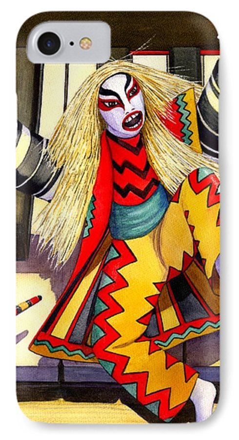 Kabuki IPhone 7 Case featuring the painting Kabuki Chopsticks 3 by Catherine G McElroy