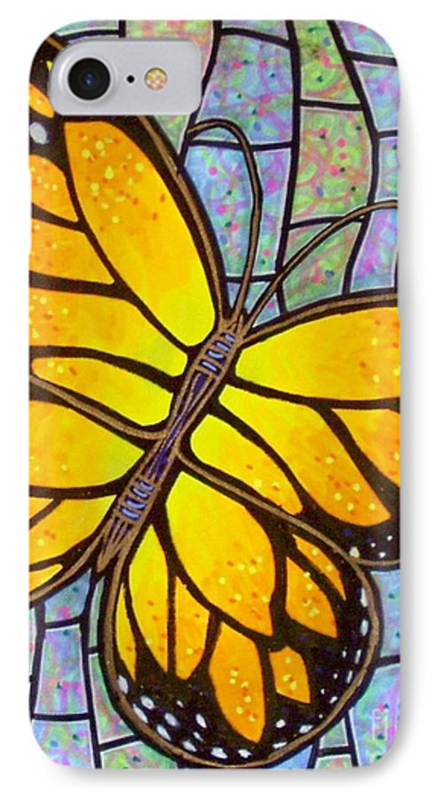 Butterflies IPhone 7 Case featuring the painting Karens Butterfly by Jim Harris