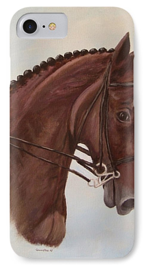 Horse IPhone 7 Case featuring the painting Kingd'azur by Quwatha Valentine