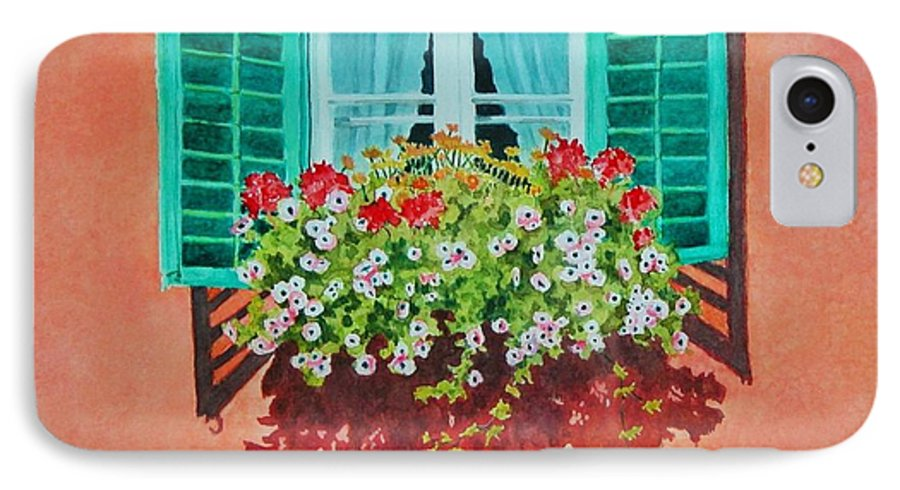 Window Box IPhone 7 Case featuring the painting Kitzbuhel Window by Mary Ellen Mueller Legault